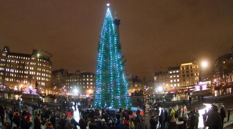 Il Natale a Londra albero a Trafalgar Square