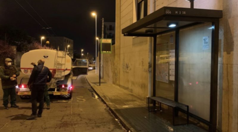 Sanificazione dell'arredo urbano a Cagliari