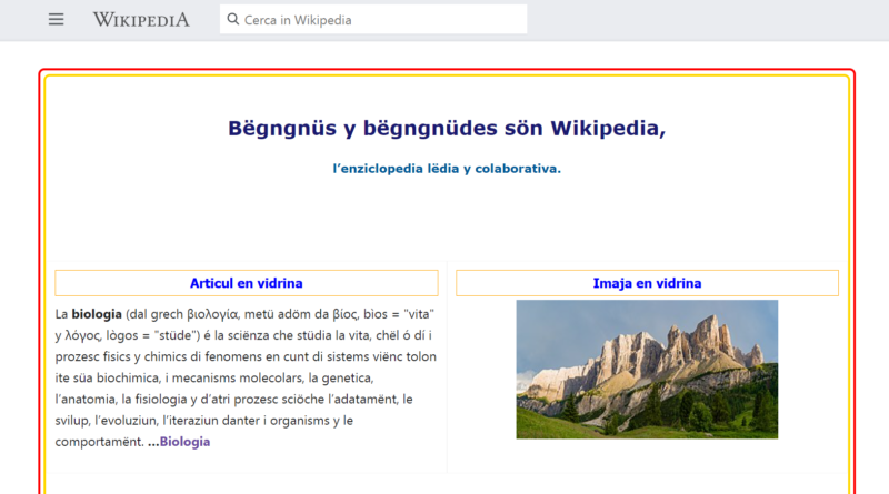 Wikipedia versione in lingua ladina
